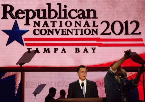 Romney Watches Technicians Adjust a Teleprompter For His Speech at the Republican National Convention in 2012